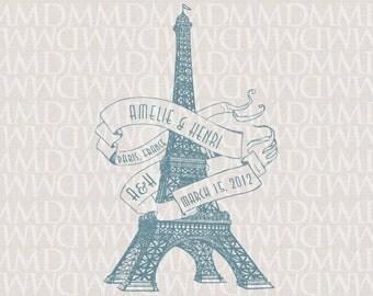 Eiffel Tower Paris Custom City Wedding Monogram - Wedding Logo - Wedding Crest