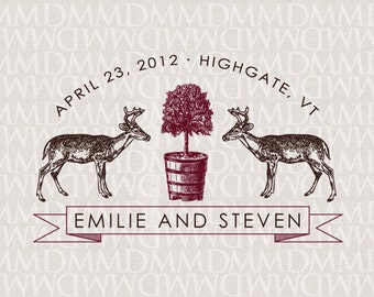 Oh Deer Woodland Custom Wedding Monogram - Wedding Logo - Wedding Crest