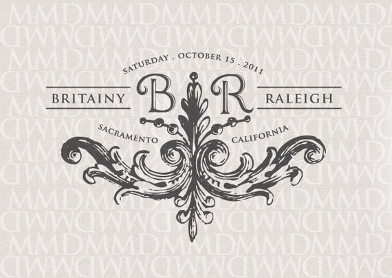 Stately Flourish Custom Wedding Monogram - Wedding Logo - Wedding Crest