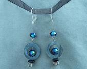 Dark circle earrings