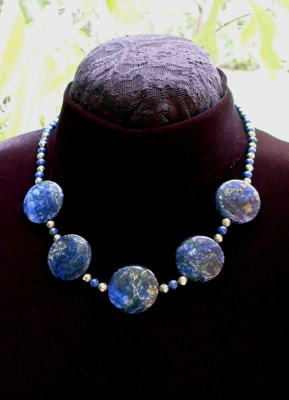 Lapis Lazuli and Pyrite Semiprecious Gemstone Beaded Necklace