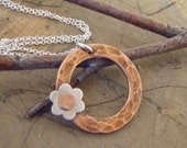 Mixed metals necklace in copper and sterling silver