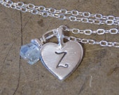 Heart and initial necklace with your choice of  birthstone gemstone dangle - Birthstone necklace