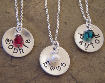 Little Girl name necklace - Personalized necklace - ONE Sterling Silver, cupped shape name necklace - Photo NOT actual size
