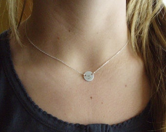 Silver initial necklace - Initial choker necklace - Silver disc necklace - Personalized initial necklace - Dainty initial necklace