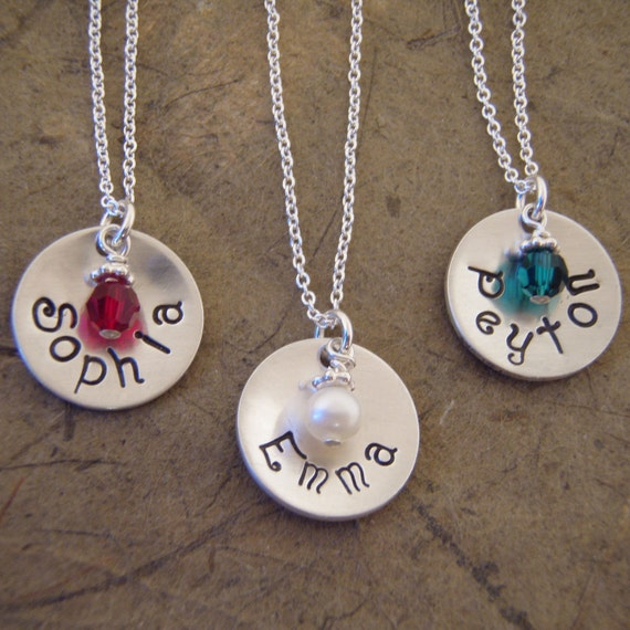 Name and birthstone necklace - Little girl personalized necklace - ONE Sterling silver name necklace - Photo NOT actual size