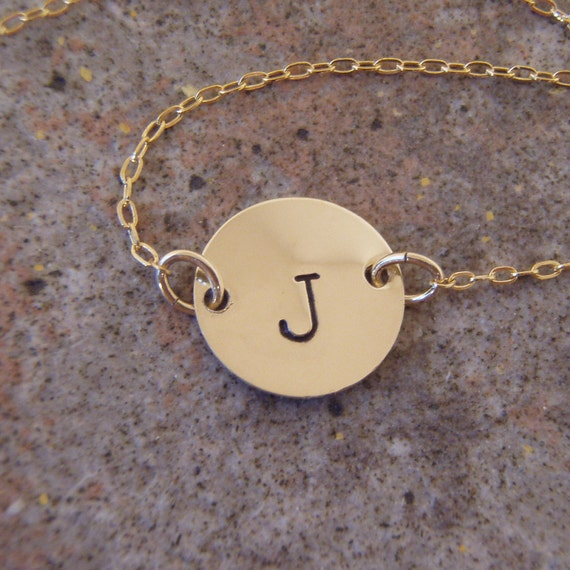 """Hand stamped gold initial charm necklace - small gold disc choker necklace - gold fill charm and chain - 7/16"""" gold coin necklace"""