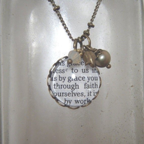 Bible verse necklace - scripture verse under glass - vintage feel on antiqued brass chain
