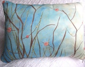 SALE Organic Pillow Painting - Beach Twig Berries - 12x16 - cushion included