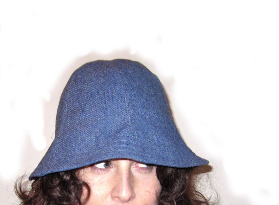 SALE Blue Tweed with Silk Lining Cloche Hat -Medium