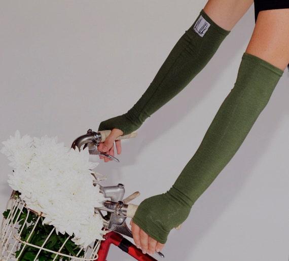 Long Moss Green Fingerless Gloves - Bamboo Eco Friendly