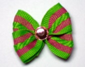 Kelly green and Hot Pink Dog Bow with Pink Rhinestone