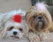 Light Pink and Red Boa Feather Dog Puppy Bow Barrette