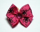 Hot Pink with Black Flower and Stitching Dog Grooming Hair Bow with Hot Pink Rhinestone Center