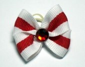 White with Red Strip Dog Bow with a Red Rhinestone Center