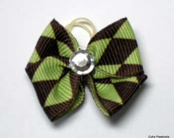 Green and Chocolate Argyle Print Dog Grooming Hair Bow with Clear Rhinestone