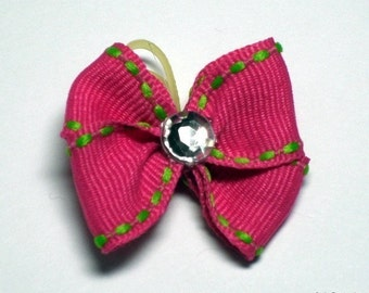 Hot Pink Dog Grooming Hair Bow with Kelly Green Stitching and Clear Rhinestone Center