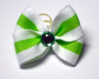 Dog Bow with Green Stripe and Green Rhinestone Center