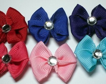 Assorted Colors of Dog Grooming Hair Bows with a Clear Rhinestone - Red, Aqua, Pink, Hot Pink, Blue and Purple