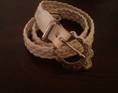 Vintage 1980's Women's White Leather Braided Belt with Silver Western Buckle