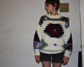Vintage 1980's Navajo /Tribal /South West /Aztec Print Wool Sweater, Slouchy