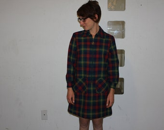 Vintage 1960's Mod Zip-Up/Pull-Over Plaid Coat/Mid Century