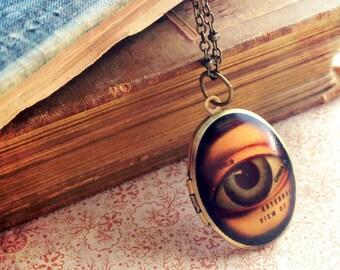 Locket Necklace - Eye - Vintage Illustration - Gothic Anatomical Skeleton Medical Bones - Upcycled Salvage Jewelery