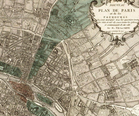 "Antique Paris Map ""Plan de Paris"" - Victorian French Vintage Map Engraved - Elegant Grey Green Map"