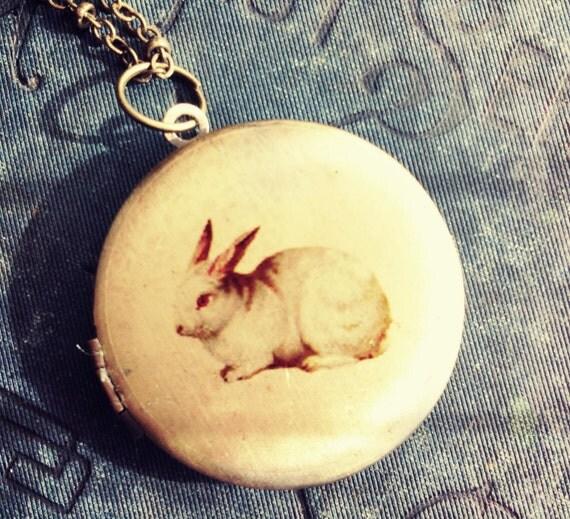 Locket Necklace - White Rabbit - Vintage Illustration - Woodland Bunny Fairytale Forest - Alice in Wonderland - Upcycled Salvage Jewelery