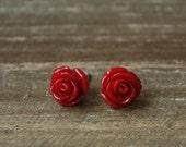 Flower Stud Earrings, Rose Buds, Stainless Steel Posts - RED ROSES