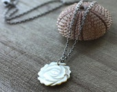 SALE 25% Off  Pendant, Sea Shell, Carved White Flower, Gunmetal, 17 inch Chain - SEA ROSE