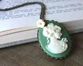 SALE 25% OFF Mint Lady - Pendant, Victorian Cameo, Ivory Glass Flower, Antiqued Brass, 18 Inch Chain