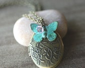 Oval Locket Necklace, Verdigris Butterfly Charm, Pink Glass Bead, 18 Inch Chain - APRIL