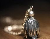 Necklace, Tulip Pendant, Swarovski Pearls, 18 Inch Chain
