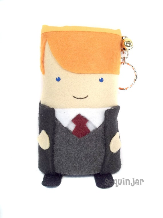 Cute handmade Ron Weasley from Harry Potter felt phone cozy/ holder/ sleeve/ cover