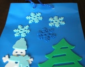 Small  Blue Holiday Gift Bag with Foam Snowman and Christmas Tree