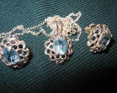Sterling Silver and Blue Topaz Necklace and Earring Set