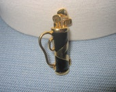 vtg GOLFERS GOLF BAG Pin Brooch with Articulated Clubs Enamel