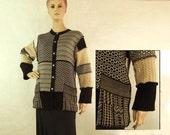 Women Sweater Cardigan Fashion Black Tan Medium Large Recycled