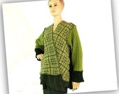 XL cardigan green womens sweater reconstructed sweater