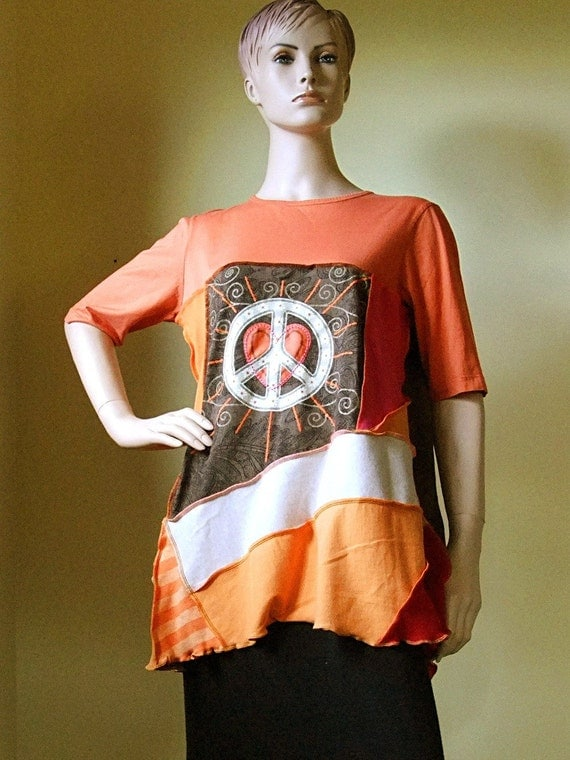 PEACE Tunic reconstructed from recycled tshirts