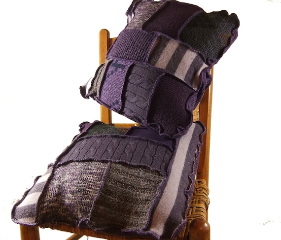 Pair of Pillows, purple recycled sweaters, throw pillows, toss pillows, decorative