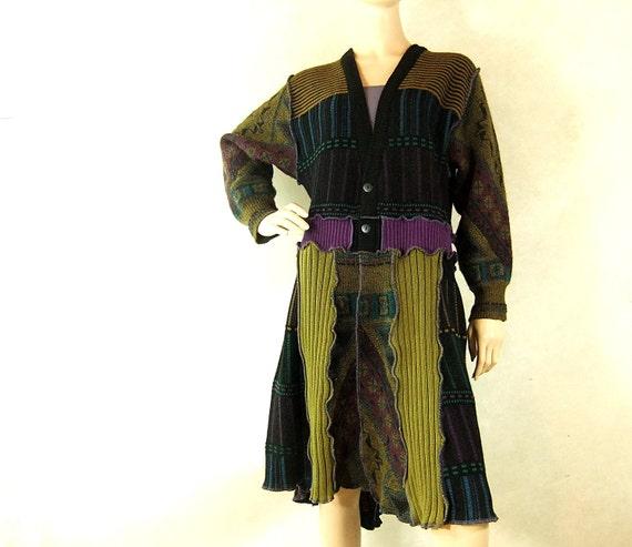 Tunic sweater coat, womens cardigan sweater, long sweater coat, green purple
