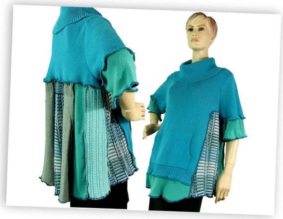 Plus size sweater, turquoise cotton knit pullover sweater, summer sweater, Extra large