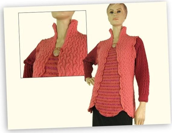 Pink sweater medium, pullover sweater, cotton knit summer sweater