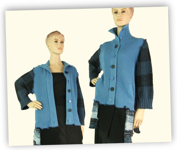 Cardigan sweater large, blue womans sweater, cotton knit