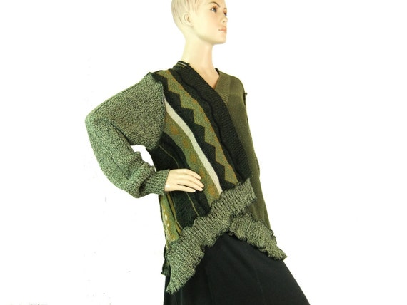 Green cardigan sweater, open front, Large size, womans medium sweater 192