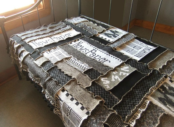 Patchwork quilt knit blanket, Newpaper theme, black,white, upcycled sweater knit