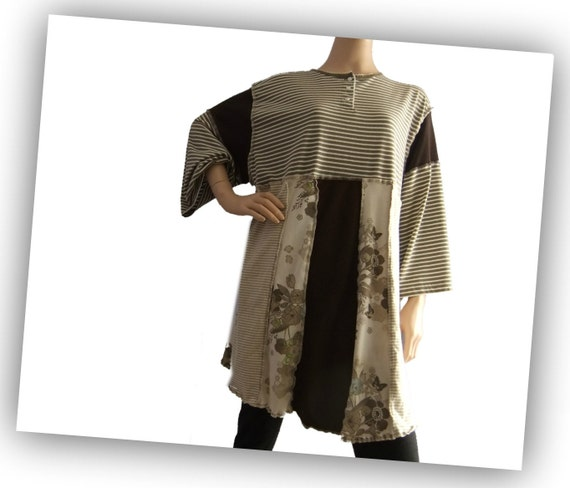 Extra Large Womens Tshirt Tunic Khaki tan plus size