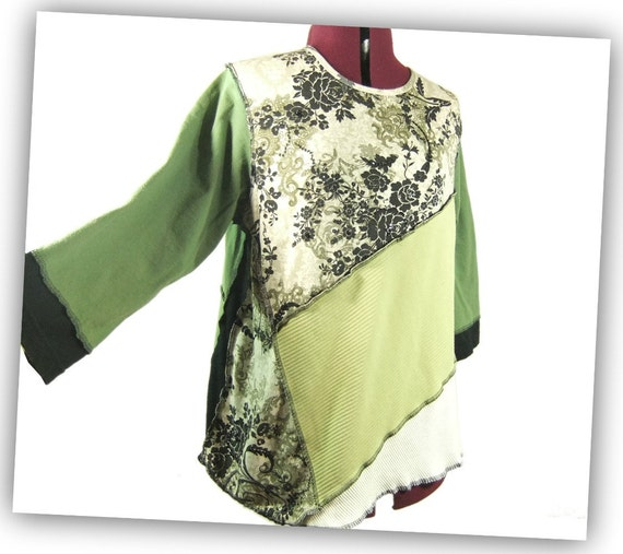 Extra Large Tunic, Womens Tshirt Tunic, green floral